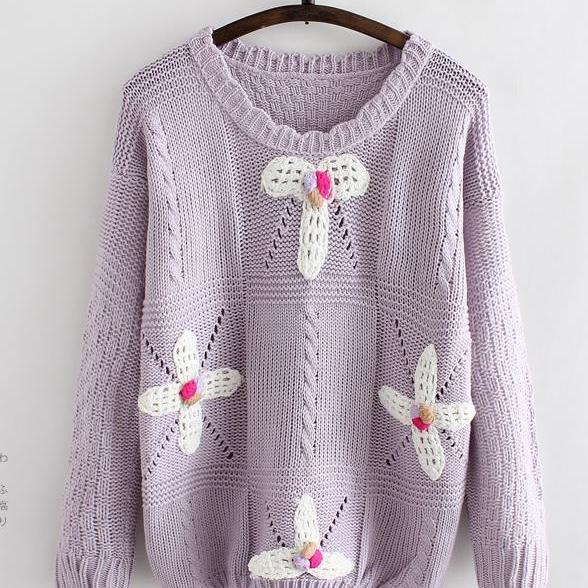 Sweet flower knitting head sweater