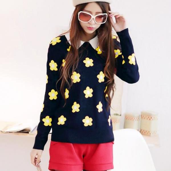 Sweet Sun flower pattern knitting head sweater
