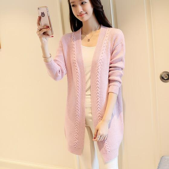 New Solid Women Long Cardigan Sweater - Pink