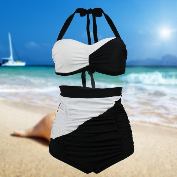 Women Retro Black And White High Waist Swimsuit Swimwear Bikini