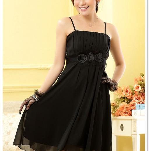 Strapless Chiffon Flowers Elegant Evening Party Dresses Wedding Bridesmaid Dress - Black