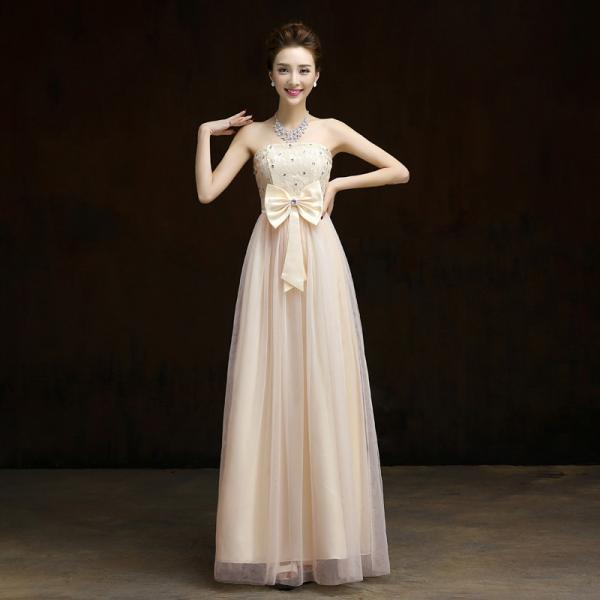 New Elegant Bow Long Evening Dress,Beaded Prom Dress,Formal Dress - Beige