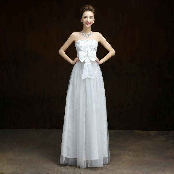 New Elegant Bow Long Evening Dress,Beaded Prom Dress,Formal Dress - White