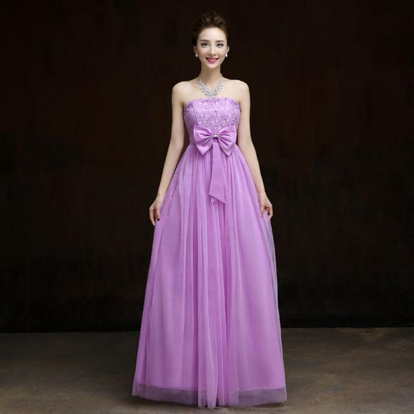 New Elegant Bow Long Evening Dress,Beaded Prom Dress,Formal Dress - Light Purple
