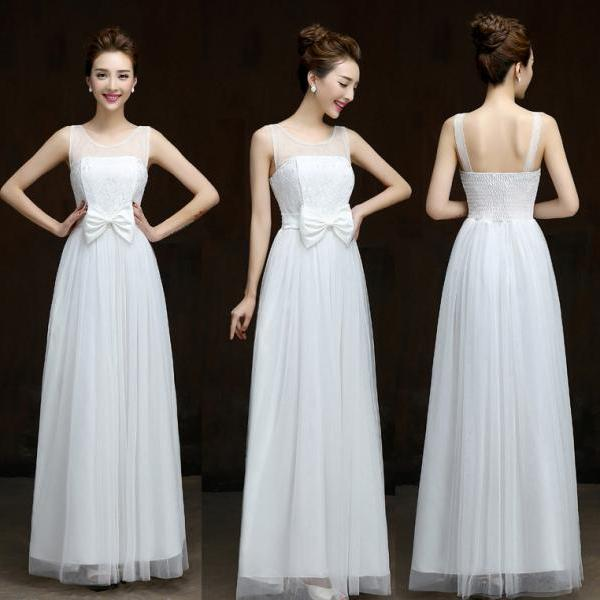 Summer style New 2016 fashion formal long design elegant gown evening dress - White