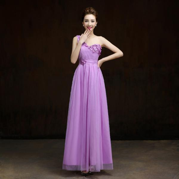 New One Shoulder Formal Long Design Elegant Gown Evening Dress - Light Purple