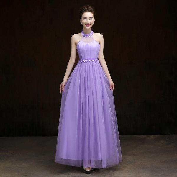 New Halter Formal Long Design Elegant Gown Evening Dress For Womem - Purple