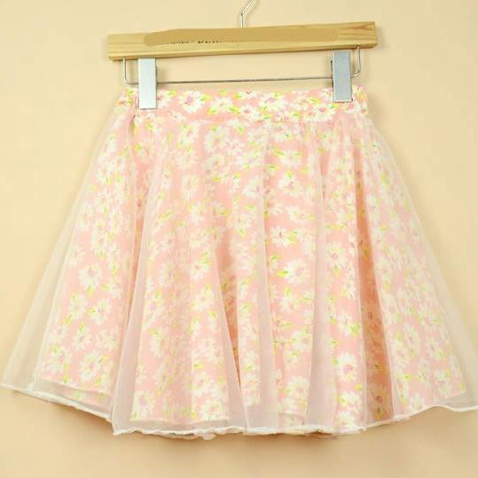 Nice Pink Flower Pattern Chiffon Skirt