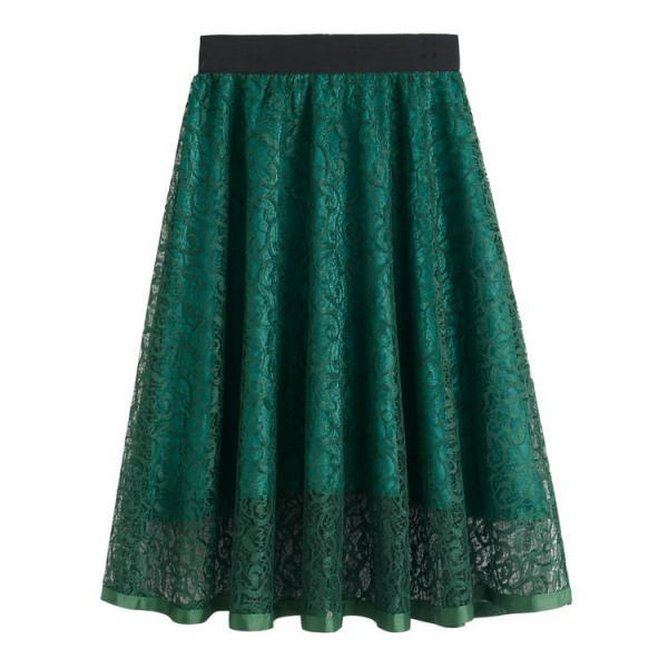 Nice Solid Lace Midi Skirt