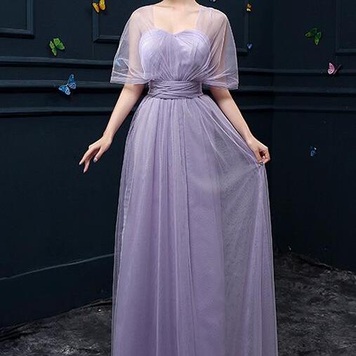 New Convertible Bridesmaid Dresses A Line Long Wedding Party Dress - Light Purple