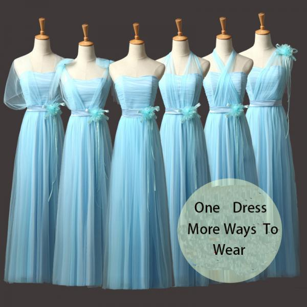 New Convertible Bridesmaid Dresses A Line Long Wedding Party Dress - Light Blue