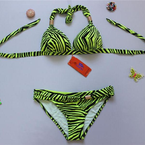 New Zebra Stripes Swimwear Swimsuit Bikini - Yellow