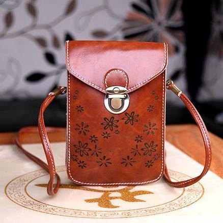 Women Messenger Bags Small Female Shoulder Bags - Brown