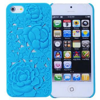 Hot selling,Fashion Retro Hard Plastic Back Case Cover with Carved Flower for iPhone 5/5S-Blue