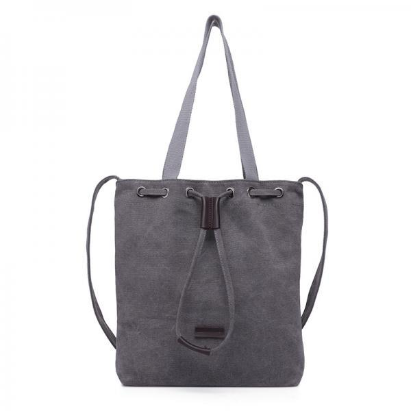Grey Canvas Drawstring Tote Bag with Shoulder Straps