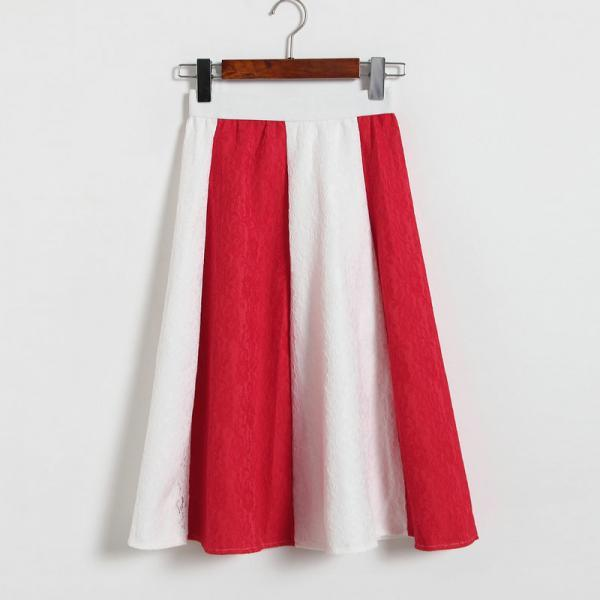 Fashion Patchwork Lace Skirt - White & Red