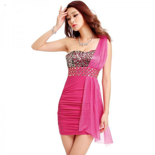 Sexy Low-Cut Sequin Backless One Shoulder Mesh Mini Club Party Dress