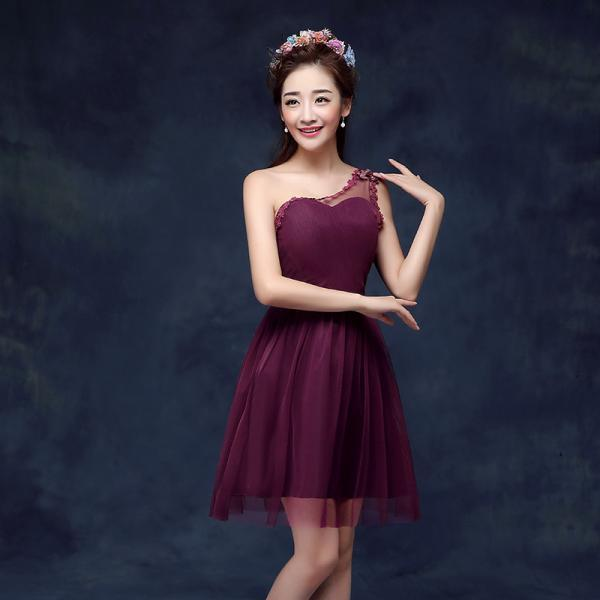 Cute One Shoulder Wine Red Color Wedding Bridesmaid Party Short Dress For Women