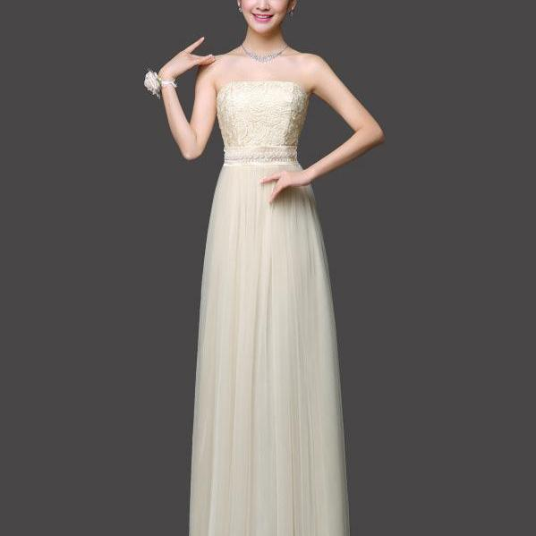 Long Bridesmaid Dress Sexy Gauze Flower Wedding Party Dress - Champagne