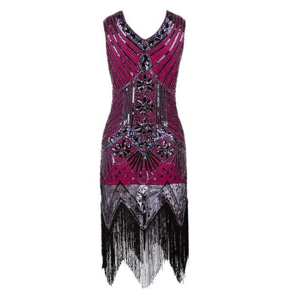 Sleeveless V Neck Sequin Short Tassels Evening Dress - Wine Red