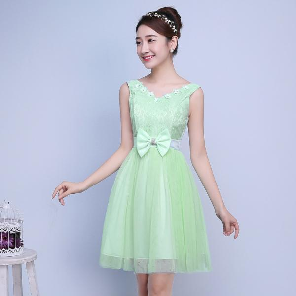 Cute Bow Mini Bridesmaid Dress Party Prom Gown - Light Green