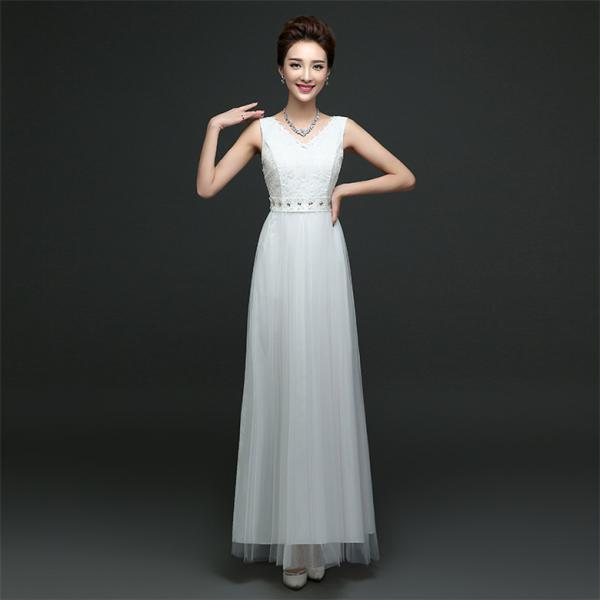 New Arrival Sleeveless Bridesmaid Dresses Long One Szie Evening Party Maid Dresses - White