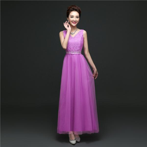 New Arrival Sleeveless Bridesmaid Dresses Long One Szie Evening Party Maid Dresses - Purple