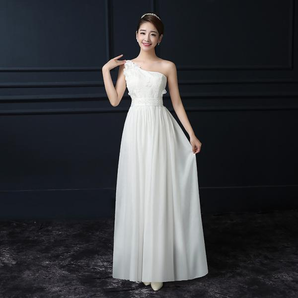 White Color Chiffon One Shoulder Sleeveless Long Bridesmaid Wedding Party Dress