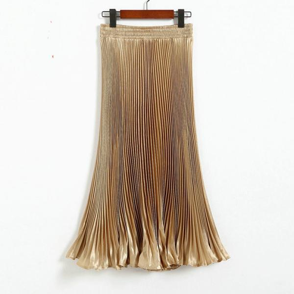 Autumn Satin Summer Casual Smooth Women Elastic Pleated Long Skirt - Champagne