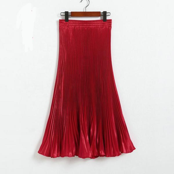 Autumn Satin Summer Casual Smooth Women Elastic Pleated Long Skirt - Red
