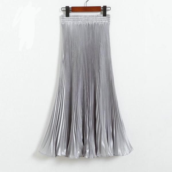 Autumn Satin Summer Casual Smooth Women Elastic Pleated Long Skirt - Grey
