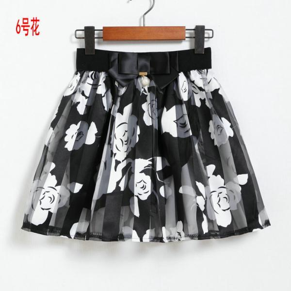 Spring Summer Casual Floral Fashion Skirts - White