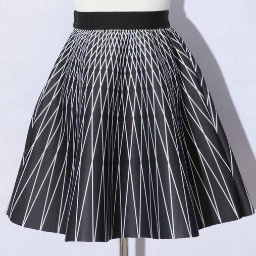 Elegant Printing Black Color Diamond Pattern A-Line Skirts