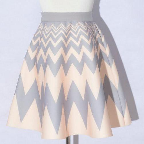 Elegant Printing Beige Color Wave Pattern A-Line Skirts