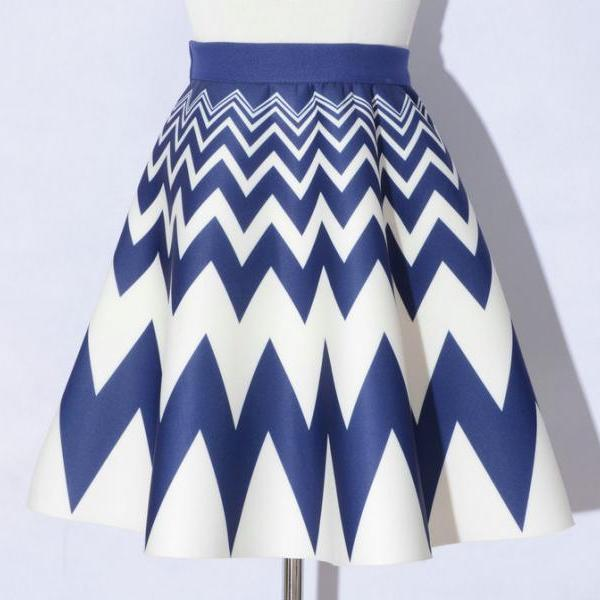 Elegant Printing Blue Color Wave Pattern A-Line Skirts
