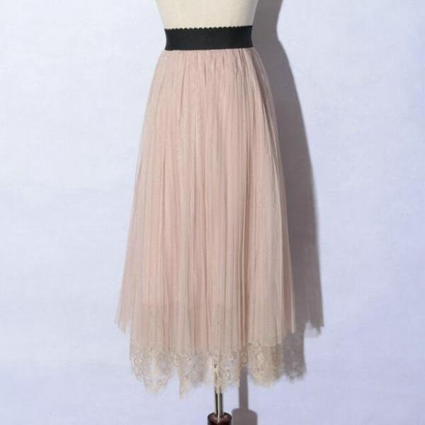 New Spring Elegant Lace Patchwork Pleated Skirt - Pink