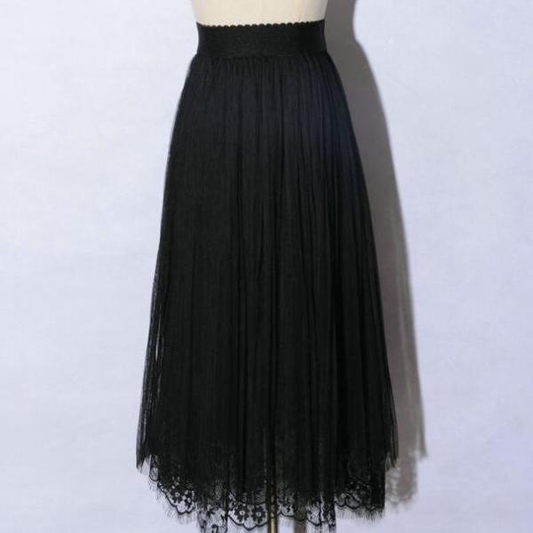 New Spring Elegant Lace Patchwork Pleated Skirt - Black