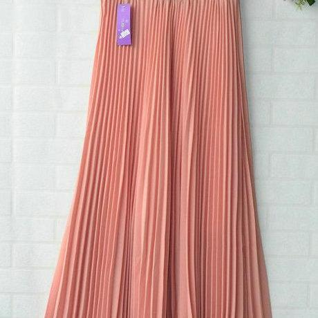 Chiffon Pleated Bohemia Long Skirt - Pink