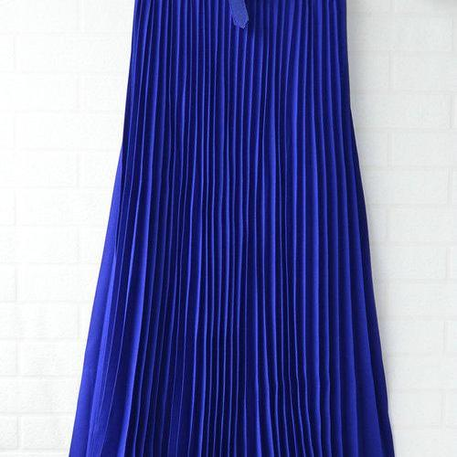 Chiffon Pleated Bohemia Long Skirt - Blue